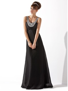 Empire Scoop Neck Floor-Length Chiffon Evening Dress With Ruffle Beading (017013792)