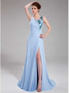 A-Line/Princess V-neck Sweep Train Chiffon Tulle Evening Dress With Ruffle Beading Sequins Split Front
