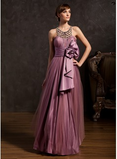 A-Line/Princess Scalloped Neck Floor-Length Tulle Charmeuse Holiday Dress With Ruffle Beading (020025843)