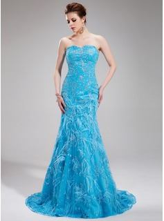 Mermaid Sweetheart Sweep Train Charmeuse Lace Evening Dress With Beading Feather Sequins (017019440)