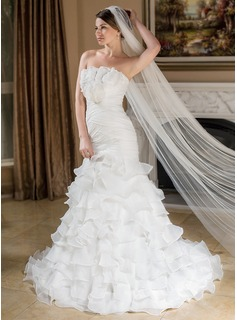 Mermaid Scalloped Neck Court Train Organza Wedding Dress With Ruffle Flower(s) (002012810)