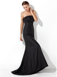 Mermaid Scalloped Neck Sweep Train Taffeta Evening Dress With Ruffle (017021133)