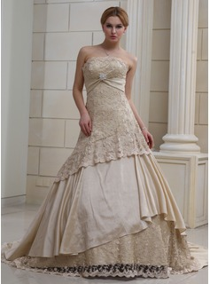 Ball-Gown Strapless Chapel Train Satin Lace Wedding Dress With Ruffle Crystal Brooch Sequins