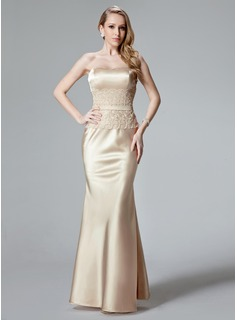 Mermaid Sweetheart Floor-Length Charmeuse Evening Dress With Lace (017004466)