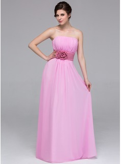 A-Line/Princess Strapless Floor-Length Chiffon Bridesmaid Dress With Sash Flower