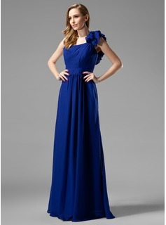 A-Line/Princess One-Shoulder Floor-Length Chiffon Bridesmaid Dress With Ruffle (007004153)
