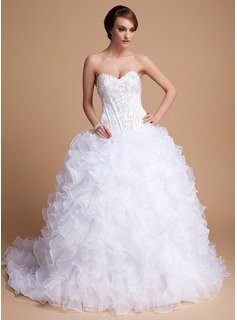 Ball-Gown Sweetheart Court Train Organza Satin Wedding Dress With Beadwork Sequins (002011996)