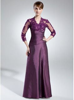 A-Line/Princess V-neck Floor-Length Taffeta Lace Mother of the Bride Dress With Ruffle (008005866)