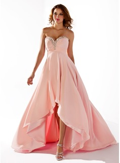 Empire-Linie Herzausschnitt Asymmetrisch Chiffon Ballkleid mit Rschen Perlen verziert (018020806)