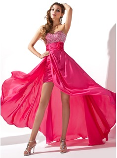 A-Line/Princess Sweetheart Asymmetrical Chiffon Prom Dress With Ruffle Beading Flower(s) Sequins (018020801)