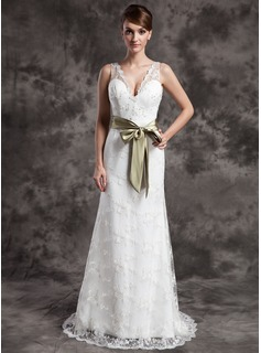 Sheath/Column V-neck Sweep Train Satin Lace Wedding Dress With Sashes Beadwork (002015007)