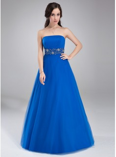 A-Line/Princess Strapless Floor-Length Tulle Prom Dress With Ruffle Beading