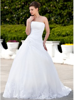 Ball-Gown Strapless Chapel Train Organza Satin Wedding Dress With Lace Beading