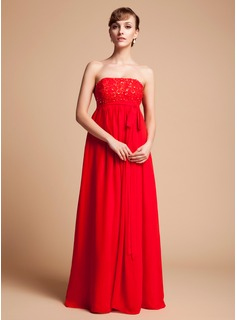 Empire Strapless Floor-Length Chiffon Maternity Bridesmaid Dress With Lace Beading Sequins (045004383)