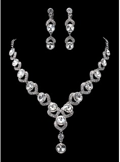 Jewelry Sets Anniversary Wedding Engagement Birthday Gift Party Daily Alloy With Rhinestones Silver Jewelry With Rhinestone (011019360)
