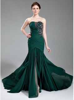 Trumpet/Mermaid Sweetheart Court Train Chiffon Evening Dress With Ruffle Lace Beading Sequins Split Front