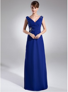 Sheath V-neck Floor-Length Chiffon Mother of the Bride Dress With Ruffle Beading (008015947)