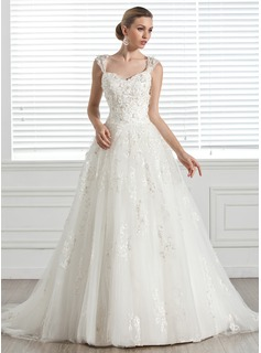 Ball-Gown Sweetheart Court Train Tulle Wedding Dress With Beadwork Appliques Flower(s) (002005283)