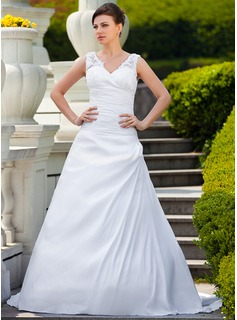 A-Line/Princess V-neck Court Train Taffeta Lace Wedding Dress With Ruffle Beadwork (002001650)