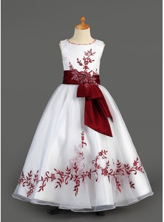 A-Line/Princess Floor-length Flower Girl Dress - Organza/Charmeuse Sleeveless Scoop Neck With Embroidered/Sash/Beading/Appliques