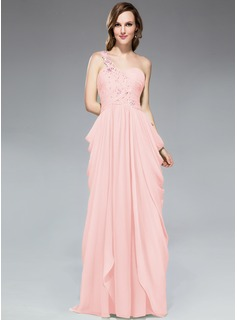 Sheath/Column One-Shoulder Sweep Train Chiffon Prom Dress With Ruffle Beading Appliques Lace Sequins