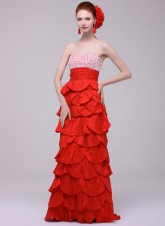 Empire Sweetheart Sweep Train Taffeta Evening Dress With Lace Beading Cascading Ruffles Pleated