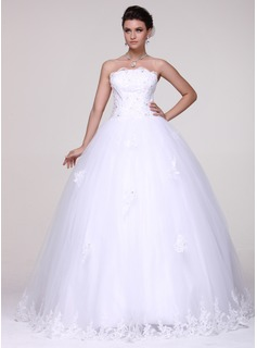 Ball-Gown Strapless Floor-Length Tulle Wedding Dress With Lace Beadwork (002016109)