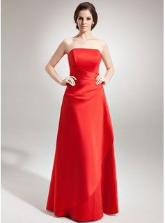 A-Line/Princess Strapless Floor-Length Satin Bridesmaid Dress With Ruffle