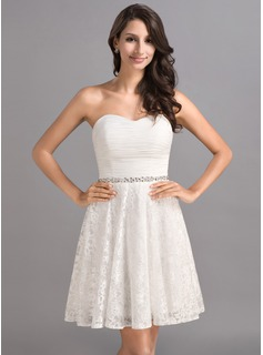 A-Line/Princess Sweetheart Short/Mini Chiffon Lace Homecoming Dress With Ruffle Beading Sequins