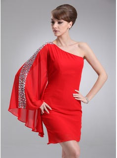 Sheath One-Shoulder Short/Mini Chiffon Cocktail Dress With Beading (016008327)