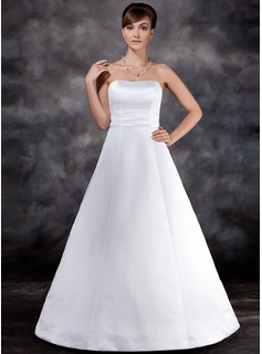 Ball-Gown Strapless Floor-Length Satin Wedding Dress