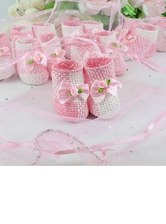 Pink And White Woven Favor Holder With Bow (Set of 12) (050024062)