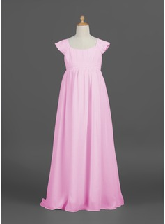 Empire Scoop Neck Floor-Length Chiffon Junior Bridesmaid Dress With Ruffle (009022480)