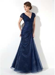 Mermaid V-neck Floor-Length Organza Lace Mother of the Bride Dress With Ruffle Beading (008005656)