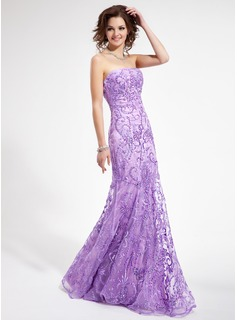 Sheath Strapless Floor-Length Organza Prom Dress With Lace Beading Sequins (018006410)