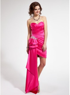 Sheath/Column Sweetheart Asymmetrical Taffeta Prom Dress With Ruffle Beading Appliques