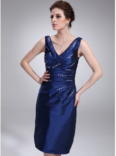 Sheath V-neck Knee-Length Taffeta Cocktail Dress With Ruffle Beading (016021247)