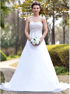 A-Line/Princess Strapless Chapel Train Satin Organza Wedding Dress With Embroidered Beading Sequins