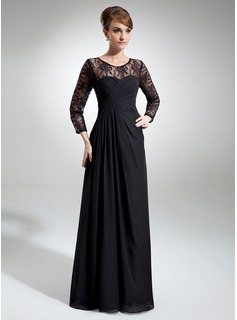 A-Line/Princess Scoop Neck Floor-Length Chiffon Lace Mother of the Bride Dress With Ruffle (008006103)