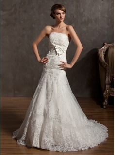 A-Line/Princess Strapless Court Train Organza Satin Wedding Dress With Lace