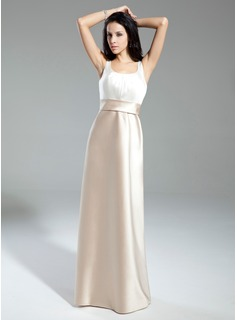 A-Line/Princess Scoop Neck Floor-Length Satin Bridesmaid Dress With Ruffle Bow