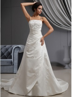 A-Line/Princess Cathedral Train Satin Wedding Dress With Embroidery Ruffle Beadwork (002022649)