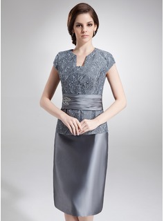 Sheath V-neck Tea-Length Taffeta Lace Mother of the Bride Dress With Beading (008006293)