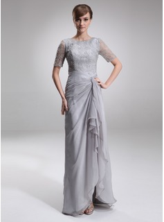 A-Line/Princess Scoop Neck Floor-Length Chiffon Lace Mother of the Bride Dress With Ruffle (008005621)