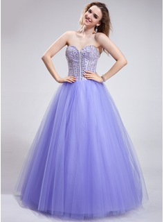 Ball-Gown Sweetheart Floor-Length Satin Tulle Prom Dress With Beading Sequins