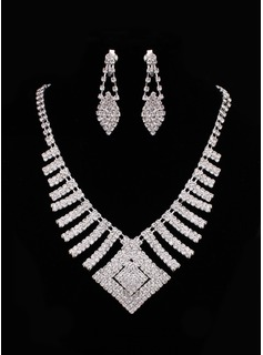 Jóias (Marvelous Czech Rhinestones With Alloy Plated Wedding Bridal Necklace And Earrings Jewelry Set 011005482)