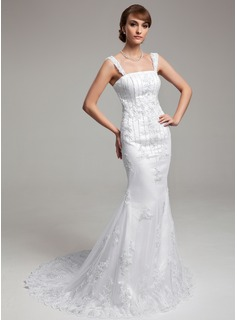 Trumpet/Mermaid Court Train Satin Tulle Wedding Dress With Lace Beading