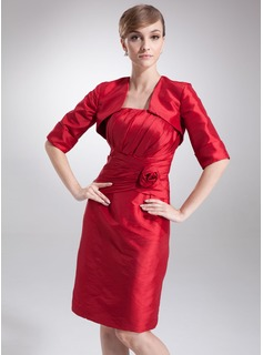 Sheath Knee-Length Taffeta Mother of the Bride Dress With Ruffle Flower(s) (008005633)