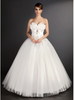 Ball-Gown Sweetheart Floor-Length Satin Tulle Wedding Dress With Lace Beadwork Sequins (002015490)