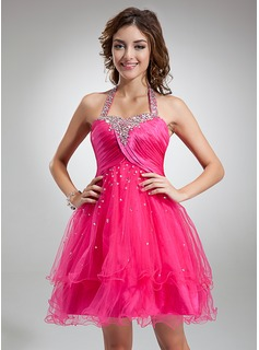 A-Line/Princess Halter Knee-Length Tulle Charmeuse Cocktail Dress With Ruffle Beading Sequins